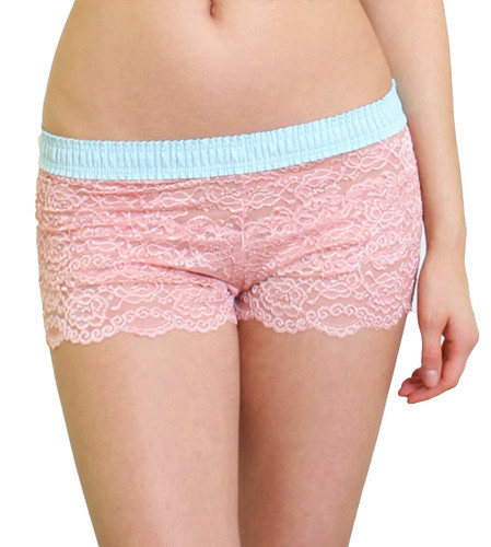 Beautiful French Rose Lace Boxers with FOXERS Aqua Dotted Waistband