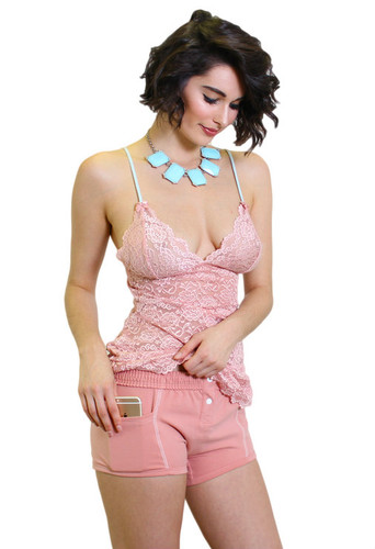 Pastel Pink Lace Chemise and Matching French Rose Tomboy Boxer Briefs