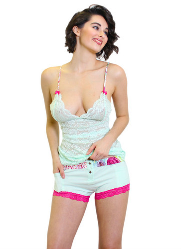 Women's Mint Boxer Brief and Lace Cami