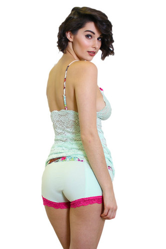 Mint Girl Boxers with Pink Lace