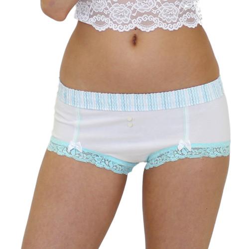 Women's White Boy Short Panties
