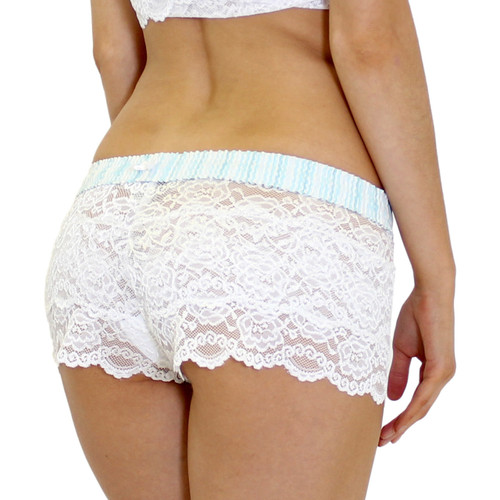 Women's White Lace Boxer Brief Panties