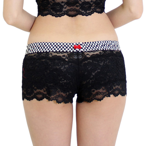 Women's Black Lace Boxer Brief Panties