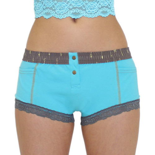 Turquoise Cotton Boxer Briefs with Gray Lace Capped Legs
