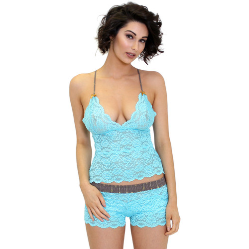 Turquiose Lace Cami and Matching Lace Panties