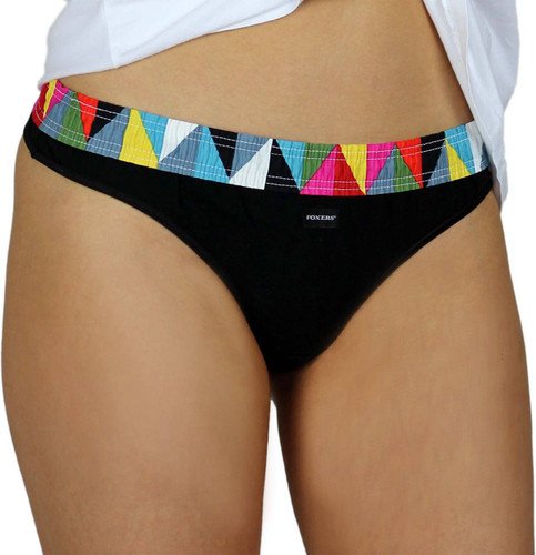 Black thong panties with colorful Kaliedoscope waistband