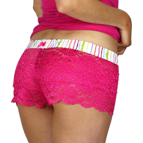 Fuchsia Lace Boxers with Watercolors FOXERS Waistband