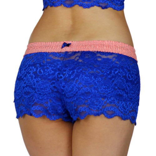 Royal Blue Lace Boxers for Women