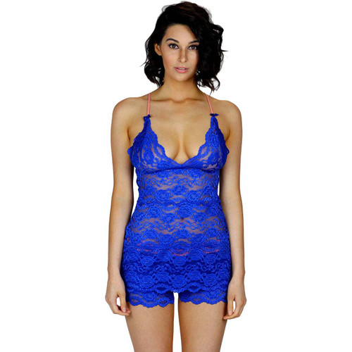 Royal Blue Hip Length Lace Chemise Top