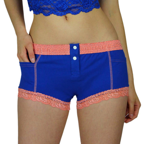 Royal Blue Womens Boxers with Coral Lace around the legs