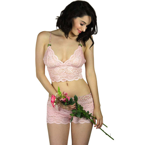 Beautiful Pink Lace Camisole Lingerie Top