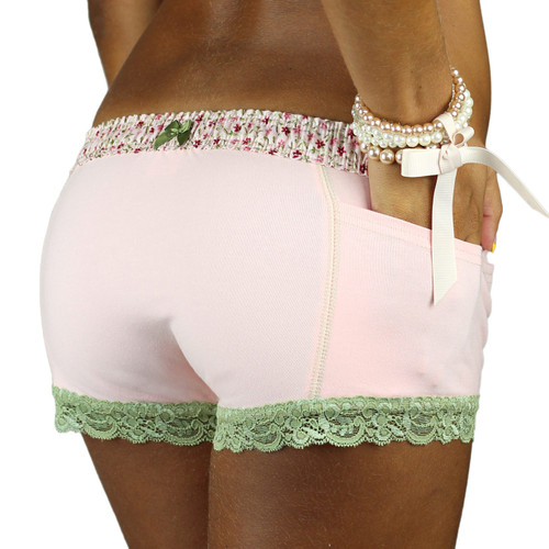 Pretty Pink Panties with Lace Leg Trim and Flower Print Waistband