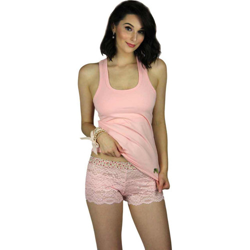 Pink Lace Girl Boxers and our racerback tank make a great lounge or sleepwear set.