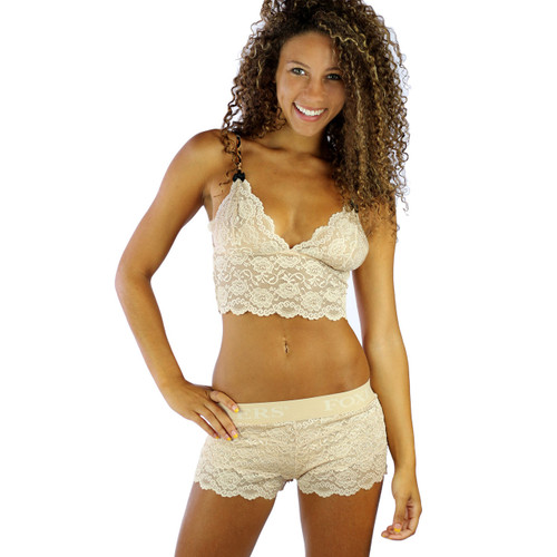Our Sahara Sand Lace Boxers pairs with our  matching  Lace Bralette Cami to create a sexy lingerie set!