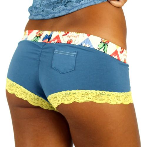 Blue Boyshorts Panties with Rodeo Waistband - FXBOY-65132