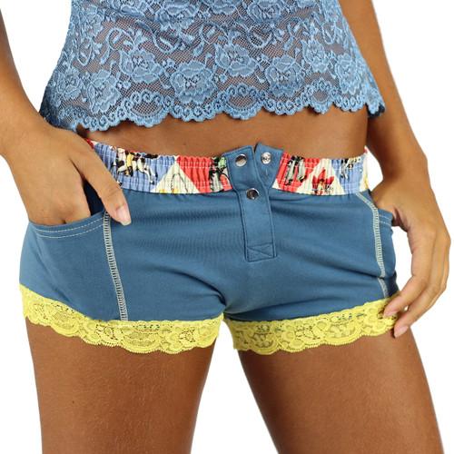 Slate Blue Women's Cowgirl Boxer Brief Underwear with pockets