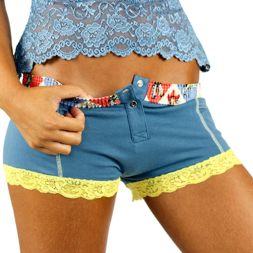 Cowboy Blue Girls Boxer Briefs with Rodeo Band