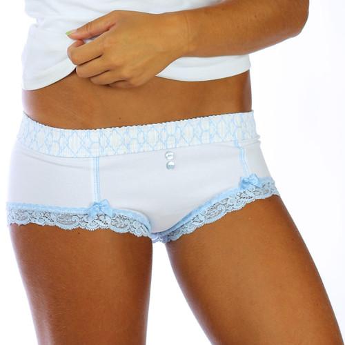 White Boyshort Panties  with Light Blue Lace Leg Trim