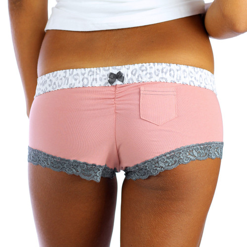 Cheeky Pale Pink Panties with Leopard Waistband