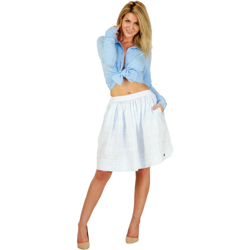 Beautiful Bridal Light Blue Trellis Skirt With Pockets