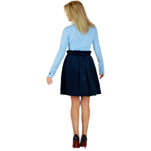 Soft Velour Dark Blue Skirt With Pockets