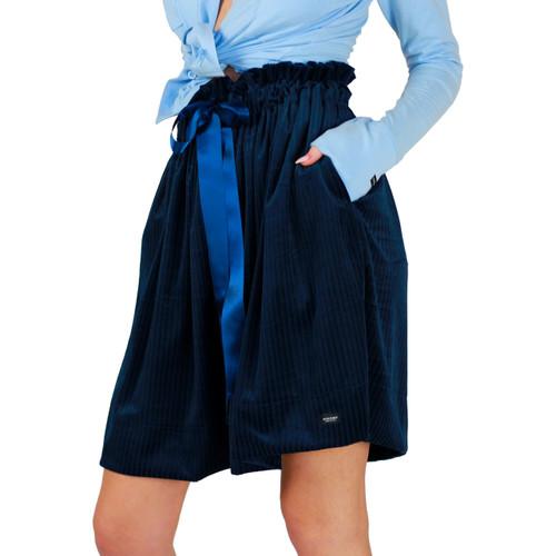Soft Velour Dark Blue Skirt With Pockets
