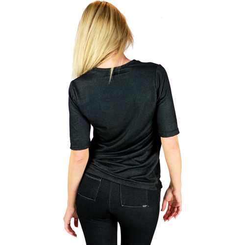 Black Stretch Denim Deep V Tshirt