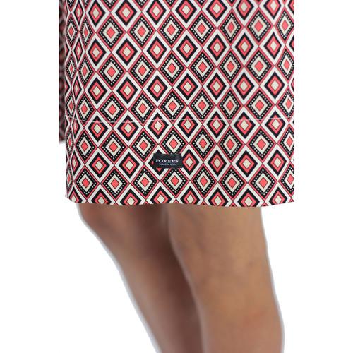 Red & Black Geometric Diamond Print Skirt With Pockets