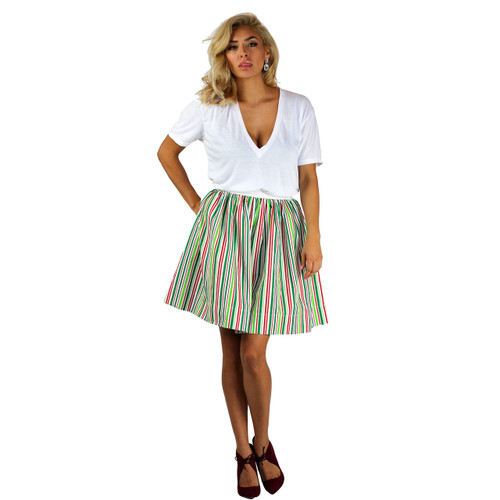 Red, White and Green Striped Skirt With Pockets (FXSKT-29)