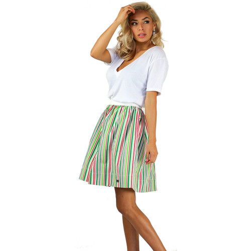 Red, White and Green Striped Skirt With Pockets