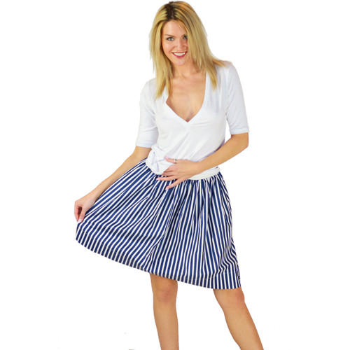 Navy Blue Striped Skirt With Pockets