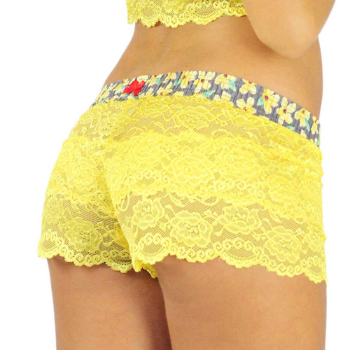 Sunshine Yellow Lace Boxer | Posies Print Band