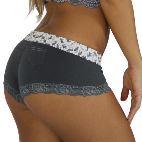 Chargray Boyshorts Panties with Elk/Foxers Logo Print Waistband