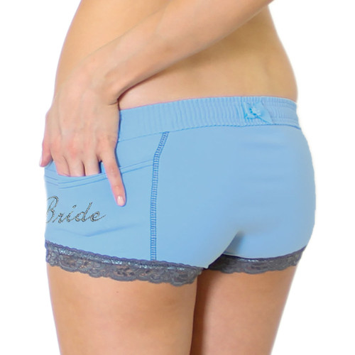 """Something Blue Women's Boxer Briefs with """"Bride"""" Monogram on the pocket"""