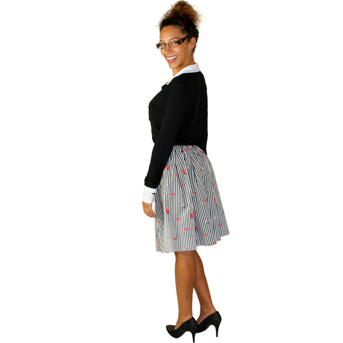 Stripes & Bows Skirt with Hidden Pockets