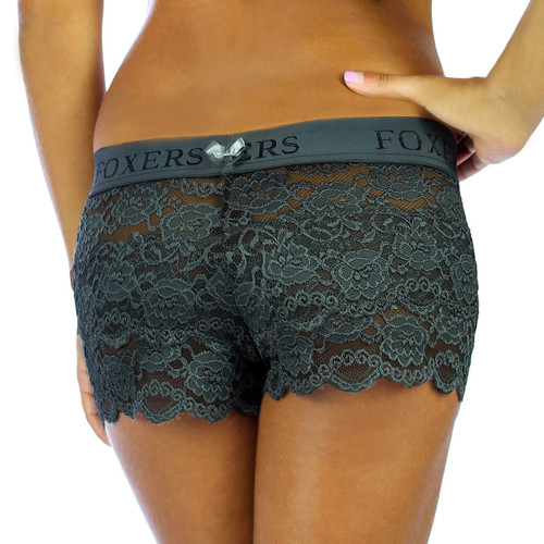 USA Made Charcoal Gray Lace Boxer and Matching Lace Top