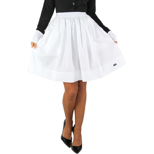 Cute White Cotton Skirt with Pockets
