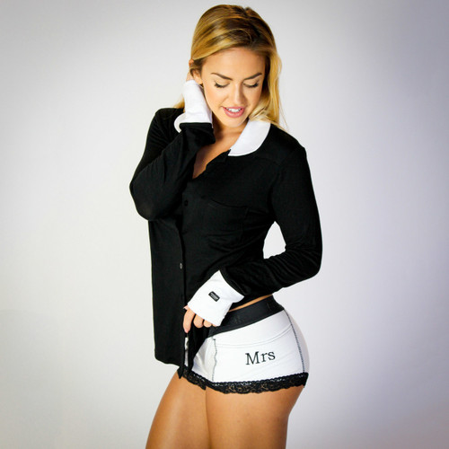 Mrs Monogrammed Women's Tuxedo Boxer Briefs and Matchin Black Equestrian with White Pockets and Sleeves