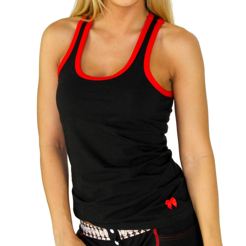 Black Racerback Tank Top with Red Trim and Foxers Shelf Bra