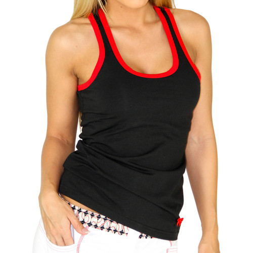 Black Tank Top with Red Trim