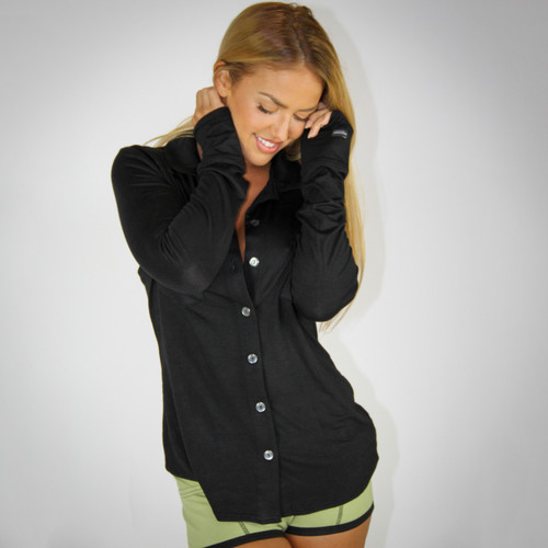 Black Button Down Boyfriend Shirt