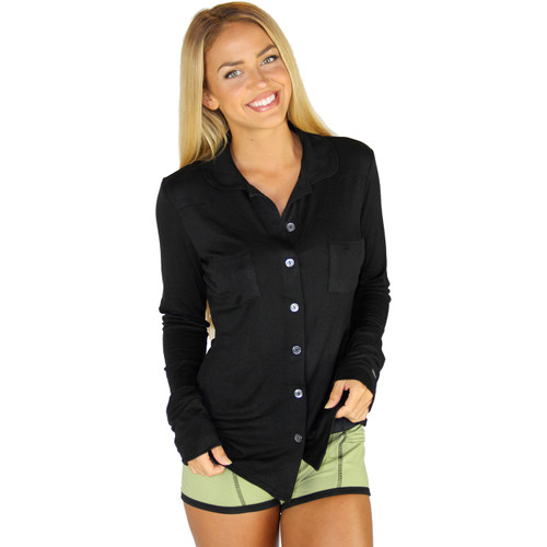 Ultra Soft  Black Equestrian Lounge Shirt