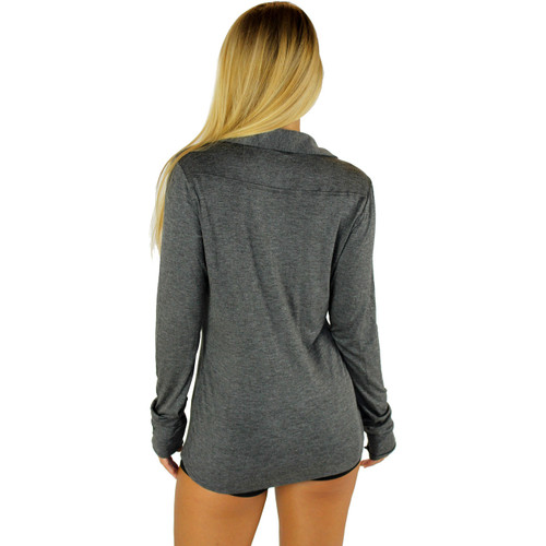 Heather Gray Button Down Top | FOXERS Equestrian