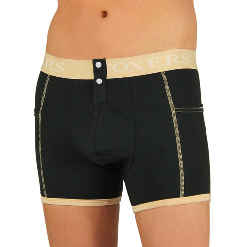 Men's Black Boxer Brief | FOXERS Nude Logo Band (MSBBP-0163L)