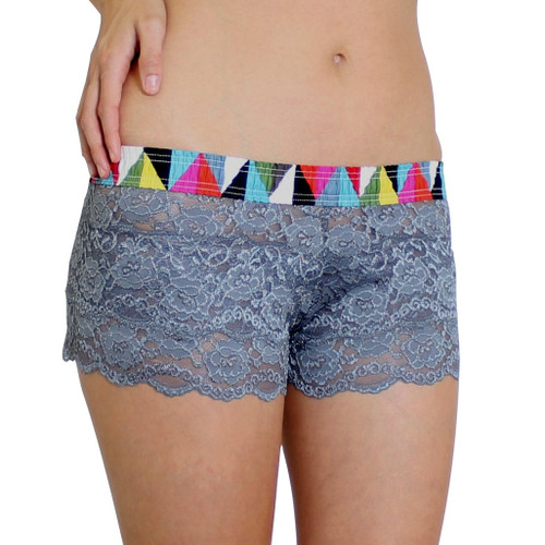 Charcoal Gray Lace Boxers Kaleidoscope FOXERS Band