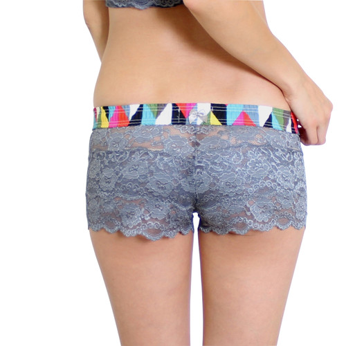 Gray Lace Boxers for Women