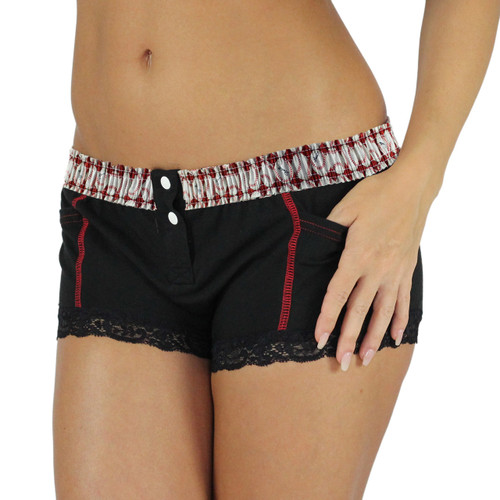 Baseball Print Waistband Black Boxer Briefs