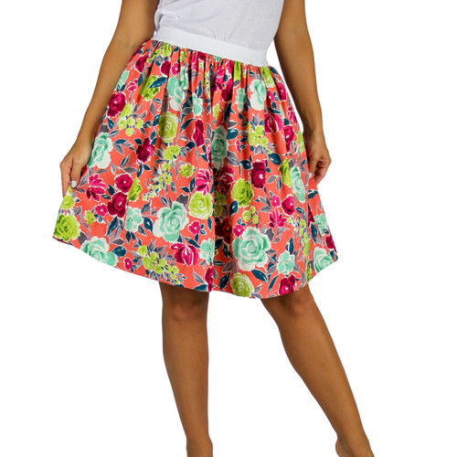 Florescent Flowers Skirt With Pockets