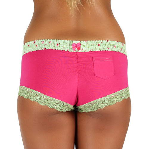 Fuchsia Boyshort with Roses Forever Waistband