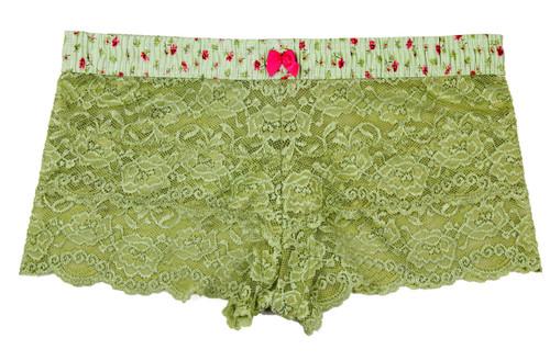 Sage Green Lace Boxer | Rose Print Band
